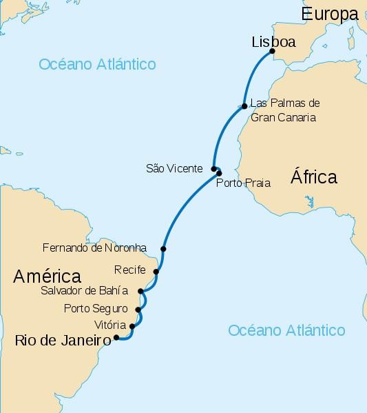 Карта первого перелёта через Южную Атлантику (Источник https://en.wikipedia.org/wiki/First_aerial_crossing_of_the_South_Atlantic#/media/File:Vuelo_Gago_Coutinho_y_Sacadura_Cabral.svg)