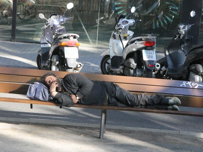 Homeless tramp. Barcelona
