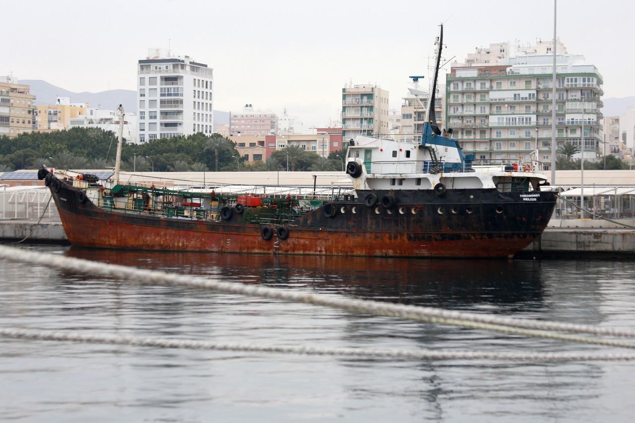 Almería ferry port, port tanker Theodoros