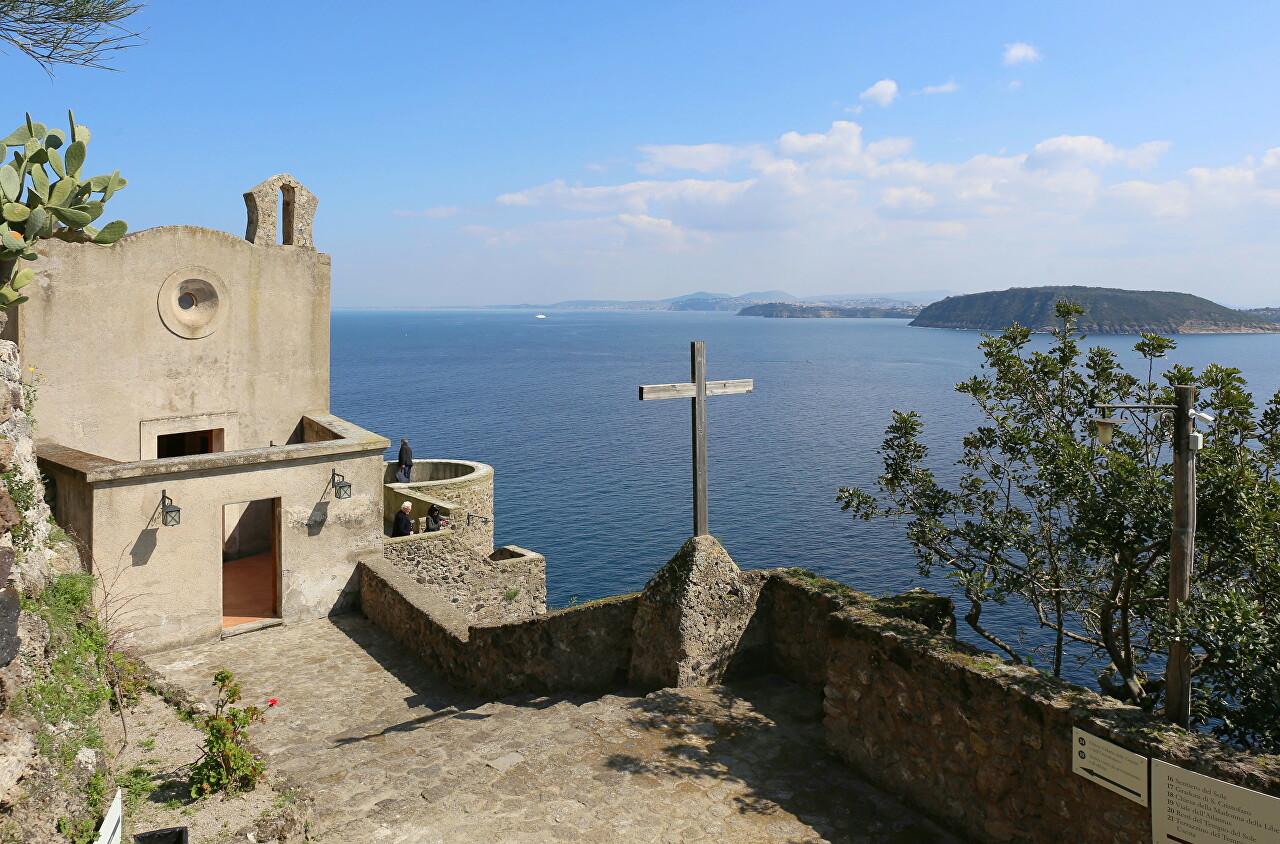 Ischia, the Aragonese castle. Church of Santa Maria delle Grazie