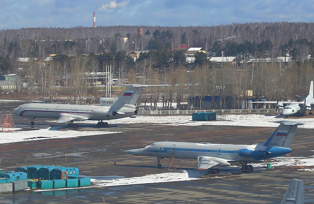 Yekaterinburg-Koltsovo airport military area. Tupolev Tu-134UBL