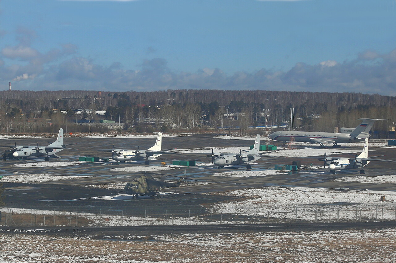 Yekaterinburg-Koltsovo airport military area. Antonov An-24 and An-26