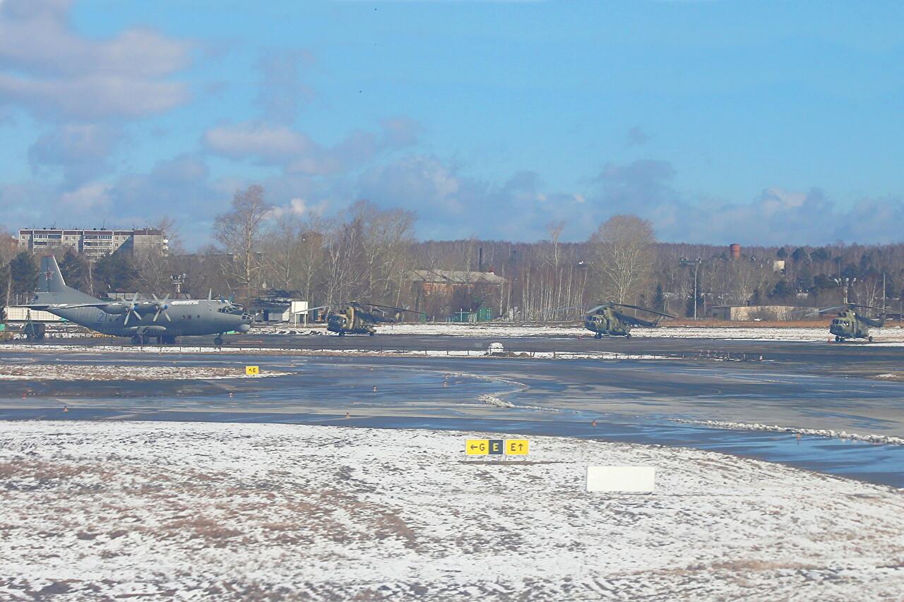 Yekaterinburg-Koltsovo airport military area. Mil Mi-8 helipad