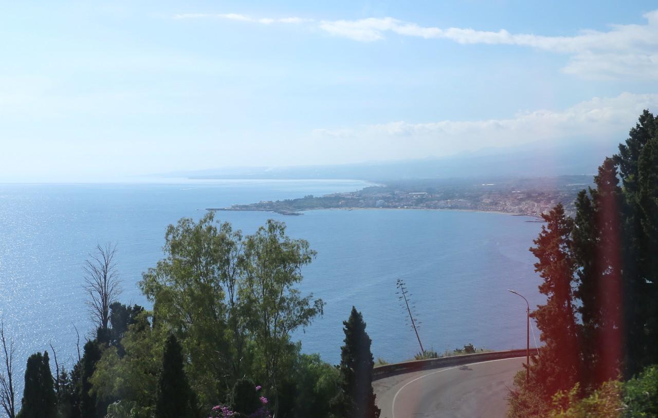 Taormina. View to Giardini Naxos Bay